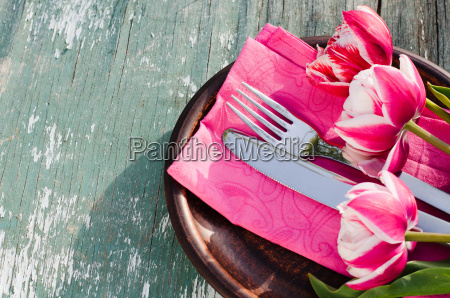 festive table set for mothers day