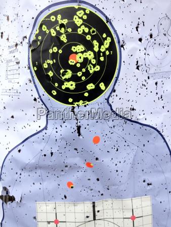 target at shooting range with bullet