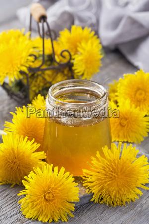 dandelion jam in a jar