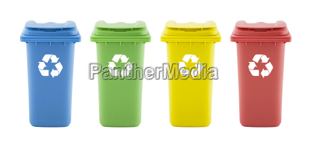 four colorful recycle bins isolated on