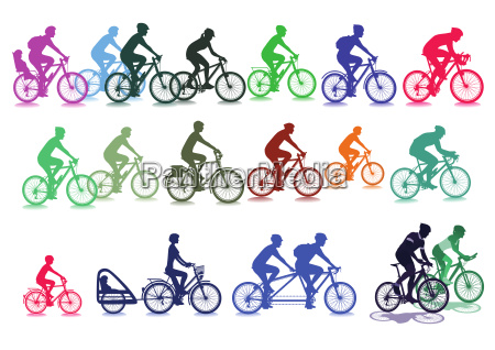 cyclist set illustration isolated