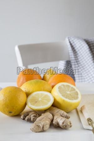 lemons oranges and fresh ginger