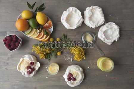 meringue nests with lemon curd citrus