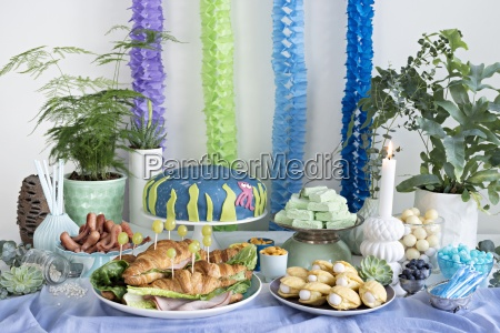 a party buffet with an under