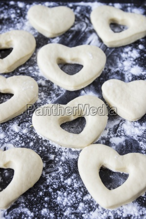 yeast dough hearts unbaked