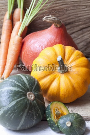various pumpkins and carrots
