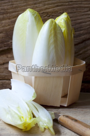 organic chicory in a wooden basket