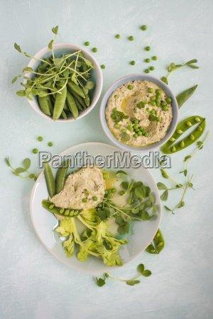 pea houmous with peas beans and