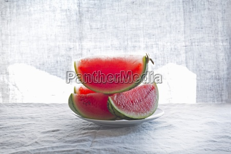 wedges of watermelon on a plate