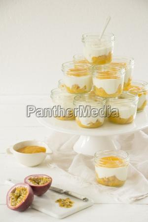 yoghurt and cream dessert with passion