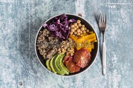 a veggie bowl with quinoa chickpeas
