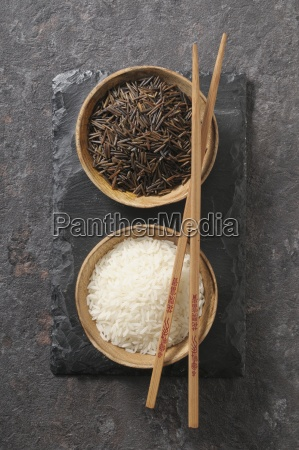 white and black rice in small