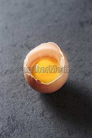 raw egg broken open