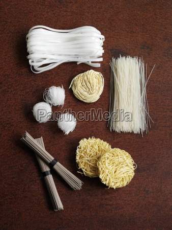 various types of noodle from asia