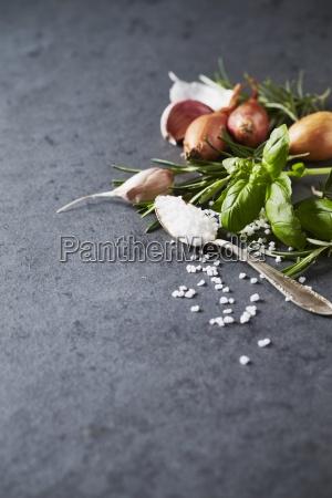 an arrangement of herbs onions garlic