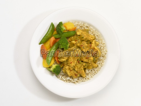 chicken masala with vegetables and rice