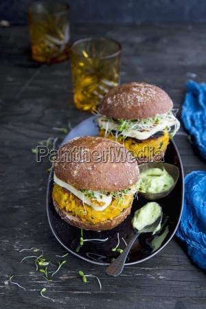 vegetarian burger sweet potato burger avocado