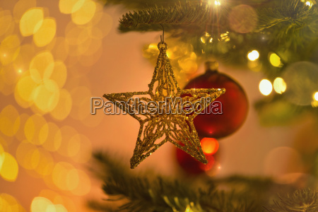 close up gold star ornament hanging