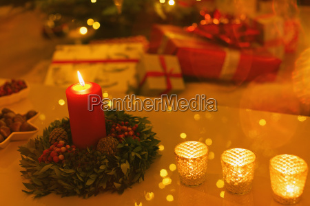 ambient candles on christmas table