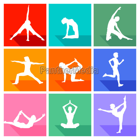 gymnastics figures and fitness collection isolated