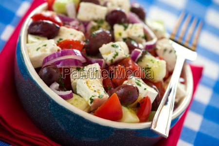 close up of greek salad with