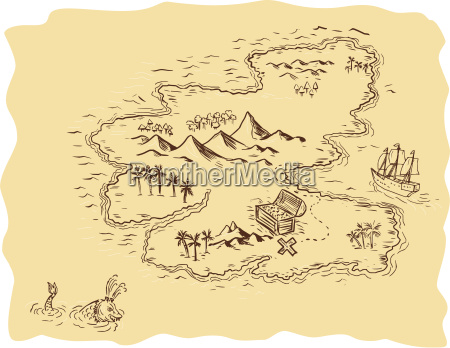 pirate treasure map sailing ship drawing