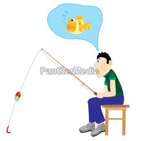 illustration men thinking about fishing