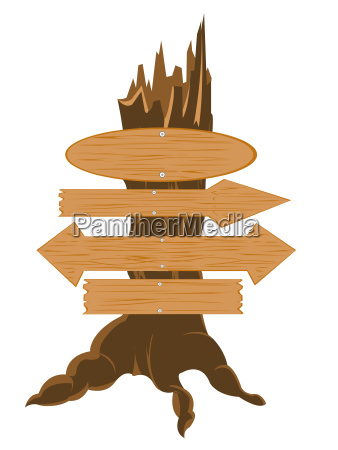wooden boards nailled to tree