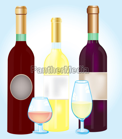 three bottles blame and goblets