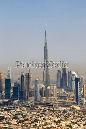dubai burj khalifa skyscraper downtown aerial