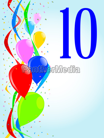 10 balloons and confetti party