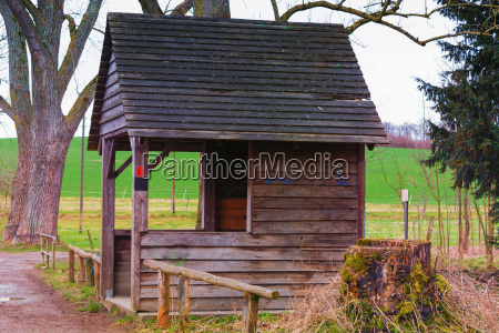 old wooden house hut in the