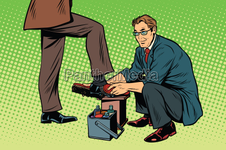 businessman shoe shiner