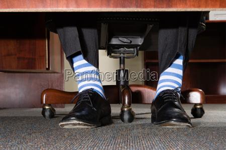 businessman with striped socks