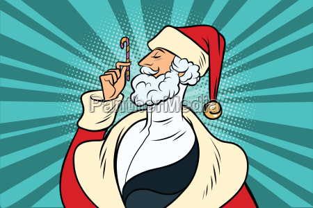 elegant santa claus and candy