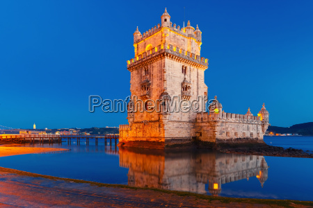 belem tower in lisbon at night