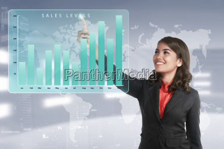 asian business woman touching marketing sales