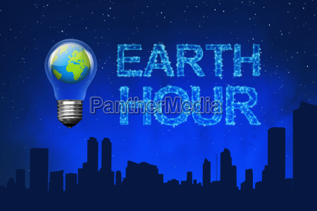 blue planet on light bulb with