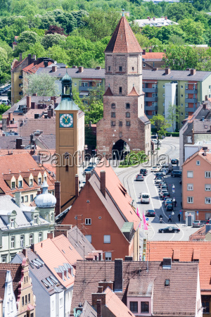 aerial view over augsburg