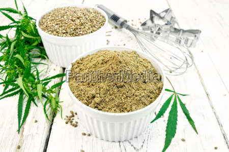 flour hemp and grain in bowls