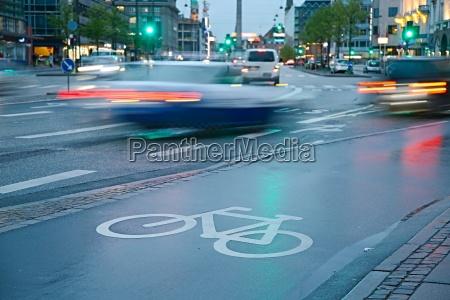 bicycle lane in the rain