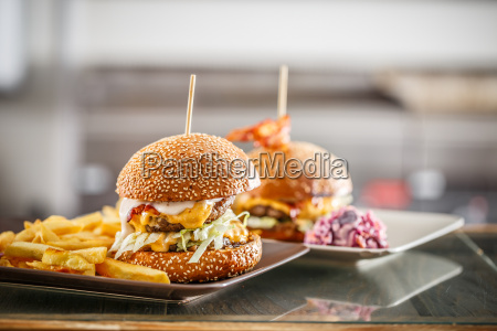delicious burgers with beef