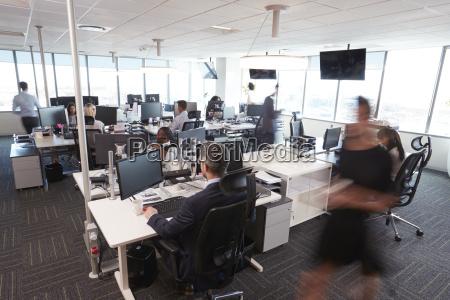 interior of busy modern open plan
