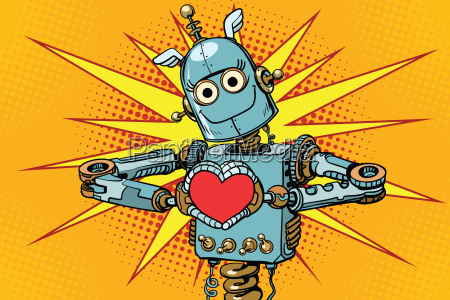 robot lover with a red heart
