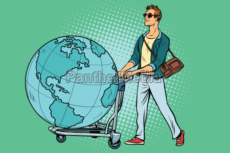man tourist with a luggage cart