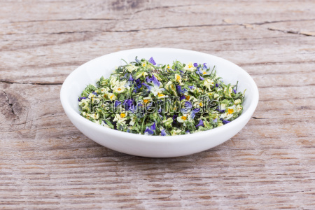 bowl of dried flowers from field