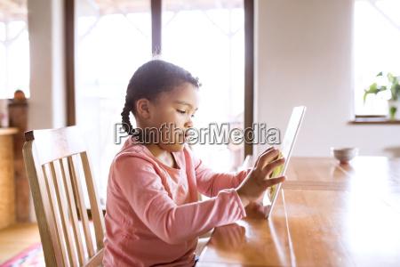 little girl using sitting tablet sitting