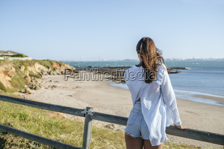 back view of woman looking at
