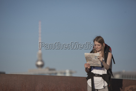 germany berlin young woman with backpack