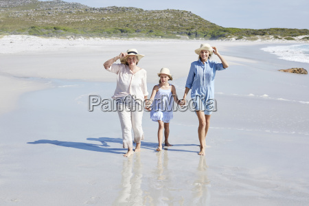 mother daughter and grandmother walking by